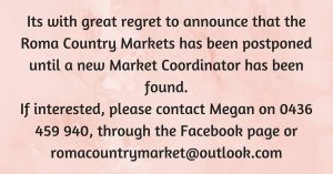 Roma Country Markets postponed