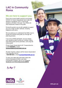 Roma Flyer COVID-19 Update_Carers Queensland NDIS LAC in Community Sessions_v3-1