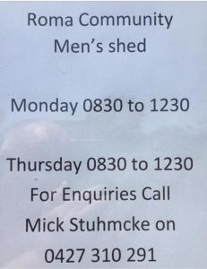 Mens Shed Opening Times