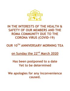Mens Shed morning tea postponed-1