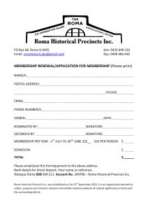 ROMA HISTORICAL PRECINCTS INC. Membership Application Updated 0221