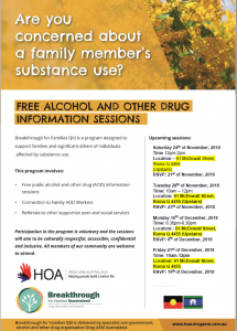 Free Alcohol and Other Drug Information Sessions