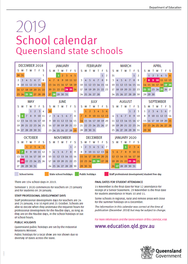 2019 Calendar Qld School 2019 Queensland State School Calendar – Roma For Families